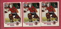 3 X 1981-82 TOPPS # 11 HAWKS TONY ESPOSITO GOALIE  NRMT+ CARD