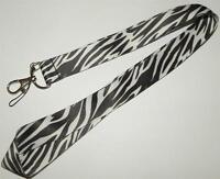 MOBILE PHONE/IDENTITY CARD LANYARD NECK STRAP ANIMAL PRINT BLACK & WHITE ZEBRA