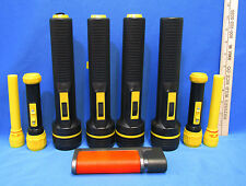 Lot of 9 Used Plastic Flashlights Mixed Black Yellow Various Size Strap Hiking