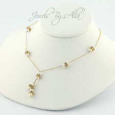 14K (Solid, Unplated) Yellow Gold Fresh Water Pearls Woments Necklace