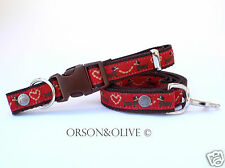 Dachshund (Sausage Dog) Heart Gift Red Designer Heart Dog Collar / Lead / Set