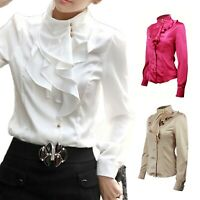 Collar Long Sleeve womens Satin Fashion Shirt Blouse Apparel Top UK Size 6-14