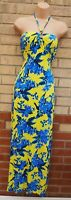 MARKS SPENCER BRIGHT YELLOW BLUE FLORAL HALTERNECK LONG MAXI SUMMER DRESS 12 M