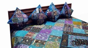 5 PC RARE SARI BEADED MOTI EMBROIDERED BEDSPREAD COVERLET QUILT THROW BLANKET