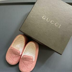 GUCCI Kids Baby Shoes First Shoes Flat Pink GG Size US2 10.5cm or less With Box
