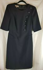 Hobbs Black Crest Button A-Line Knee Length Dress UK8