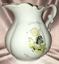 Vintage Porcelain ~ Holly Hobbie Gold Rim Friend Jug ~ Estate Collectable