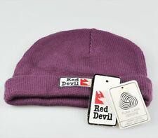 Red Devil cappello cuffia uomo donna viola basic originale lana vergine nuovo