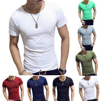 Men's Muscle Tee V-Neck Short Sleeve T-Shirt Summer Slim Fit Beach Tops Solid