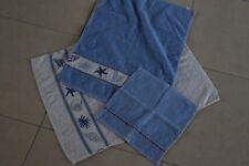 Lot serviettes de toilette blanc&bleu (x3)