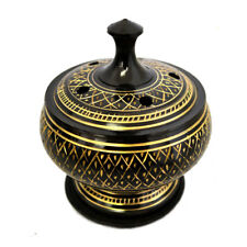 """NEW Engraved Incense Burner with Lid 3.75"""" Gold and Black Cones or Resin"""