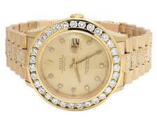 18k Solid Yellow Gold Mens Rolex Datejust Presidential Band with Diamond Bezel