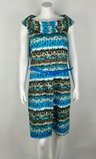 Eden Court Women's Dress NWOT Belted Sz 16 Cotton Blend Lined Blue Multi