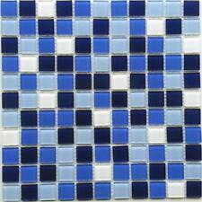1m² (11 Matten) Crystal Glasmosaik Mosaik Fliesen Blau -Mix 4mm Kristall