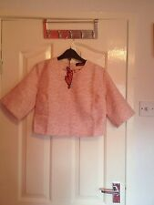 NWT Motel Alya Daisy Jacquard Pastel Pink Separates Zip Crop Top Tshirt (Medium)
