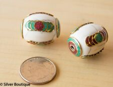 Tibetan White crackle resin beads with Turquoise Coral Inlay on brass 28mm