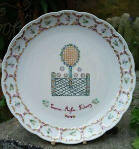 Beautifully Handpainted Riglen Fribourg 1976 Tennis Tournament Plate 24.5cm