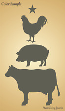 Joanie Stencil Barnyard Animal Cow Pig Chicken Milk Dairy Egg Farmhouse DIY Sign