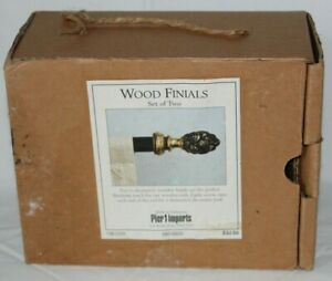 Pier 1 Imports NEW Set of 2 Wood Finials Gold and Black