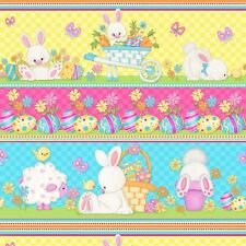 Easter Bunny Rabbit Stripe Multicolor Cotton Fabric HG&Co Hop To It By The Yard