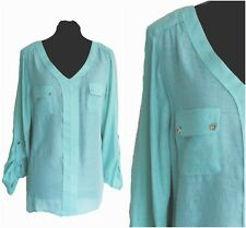 ex M&Co Mint Blouse - 3/4 Roll Up Sleeves Pastel Top With Pockets Relaxed Fit