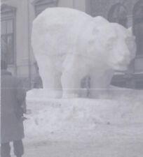 1948 SNAPSHOT PHOTO ST MORITZ SWITZERLAND GIANT BEAR SNOW STATUE