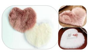 Lovely Heart Shape Fluffy Rugs Door Mat Faux Fur Child Soft Sheepskin Floor Mats