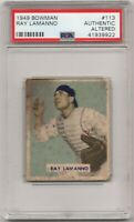 1949 Bowman #113 Cincinnati Reds Ray Lamanno GRADED by PSA Authentic Altered