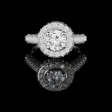 Women's Wedding Ring Size 5 6.5 7.5 Round Cut 1.40 Ct Real Diamond 950 Platinum