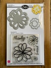 Sizzix Framelits w/Stamps Scrapbooking Die Paper Flowers, Doodle 657580 New