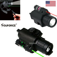 Combo LED Flashlight&Red/Green Laser Sight Picatinny Rail for Rifle Pistol gun