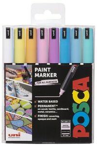 uni Posca PC-1MR Paint Marker Pens - New 8 Pen Set - Ultra Fine - Pastel Colors