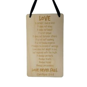 Love Sign Love Is Patient Love Is Kind Rustic Hanging Wood Plaque Anniversary