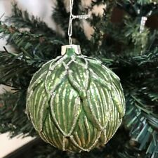 6 x Luxury Green Glass Baubles Christmas Tree Decorations Artichoke Leaf Design