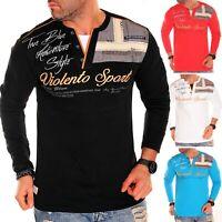 Herren Langarmshirt Sweatshirt V-Neck Italien Langarm T-shirt Longsleeve NEU