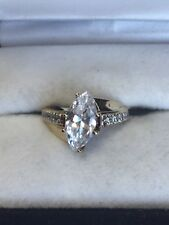 10K Yellow Gold Marquise CZ Solitaire with Accents Ring, 3.7 Grams, Size 5.5.
