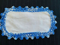 "White Cotton Oblong Doily w/Blue Crocheted Edging, 9 1/2"" x 6"""