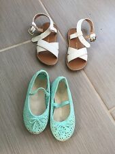 Designer Baby Gap Girls Lot Of Shoes Sandals Teal & White Mod Size 7