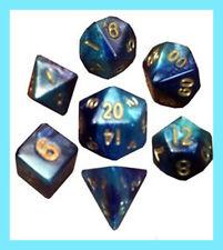 MDG 7 MINI POLYHEDRAL DICE SET METALLIC DARK BLUE / LIGHT BLUE GOLD NUMBERS Game