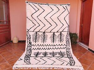 "Beni Ouarain Rug Berber Moroccan Handmade Black & White Abstract Rug 5'3"" x 8'6"""