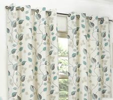 April Teal Ring Top / Eyelet Fully Lined Readymade Curtain Pair 66x72in 167x182c