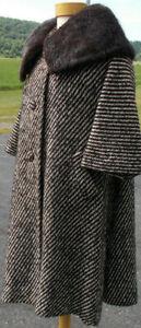 S33 Lilli Ann Wool Winter Swing Coat/50s/L/Black/White/Tweed/Muskrat Collar!