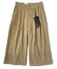 Levi's Premium Wide Leg Pleated Cropped Tan Corduroy Womens Pants Size 25 was$79