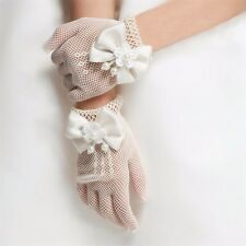 Flower Baby Girls Bow Tie Lace Party Ivory Gloves