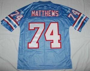 BRUCE MATTHEWS HOUSTON OILERS SEWN THROWBACK JERSEY M - NFL REEBOK