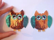 6 patches sequin owl brown patch applique iron on sew motif hot fix sewing craft