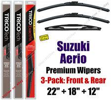 Wipers 3-Pack Premium Front Rear - fit 2004-2007 Suzuki Aerio - 19220/180/12B
