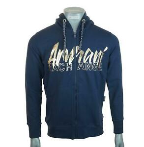 New Men's Authentic Armani Exchange Stretch Hoodie Foil Print Full Zip Navy Blue