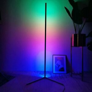 Corner Floor Lamp RGB Color Changing LED Dimmable w Remote Control Modern