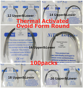 100packs Dental Orthodontic Thermal Activated Niti Arch Wire Round Ovoid Form